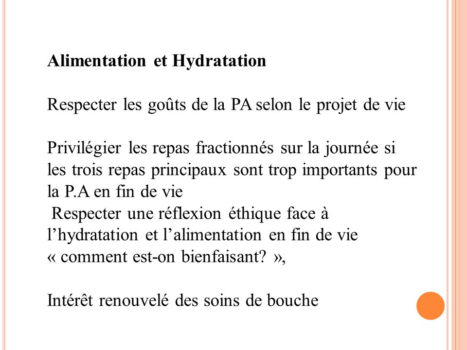 Alimentation et Hydratation