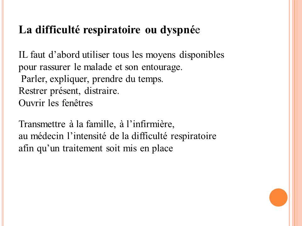 La difficulté respiratoire ou dyspnée