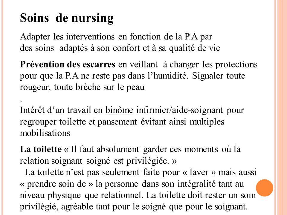 Soins de nursing Adapter les interventions en fonction de la P.A par