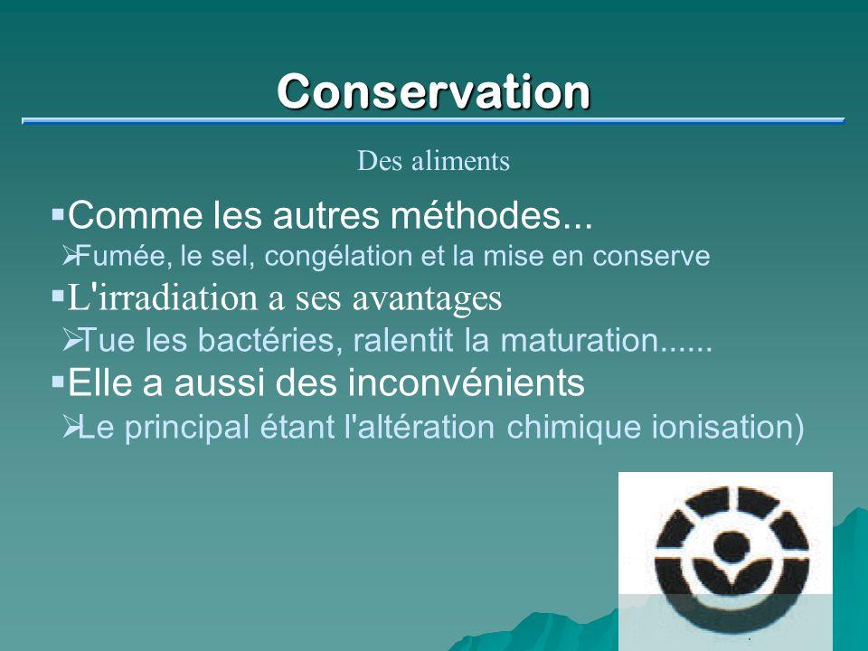 Conservation Comme les autres méthodes...
