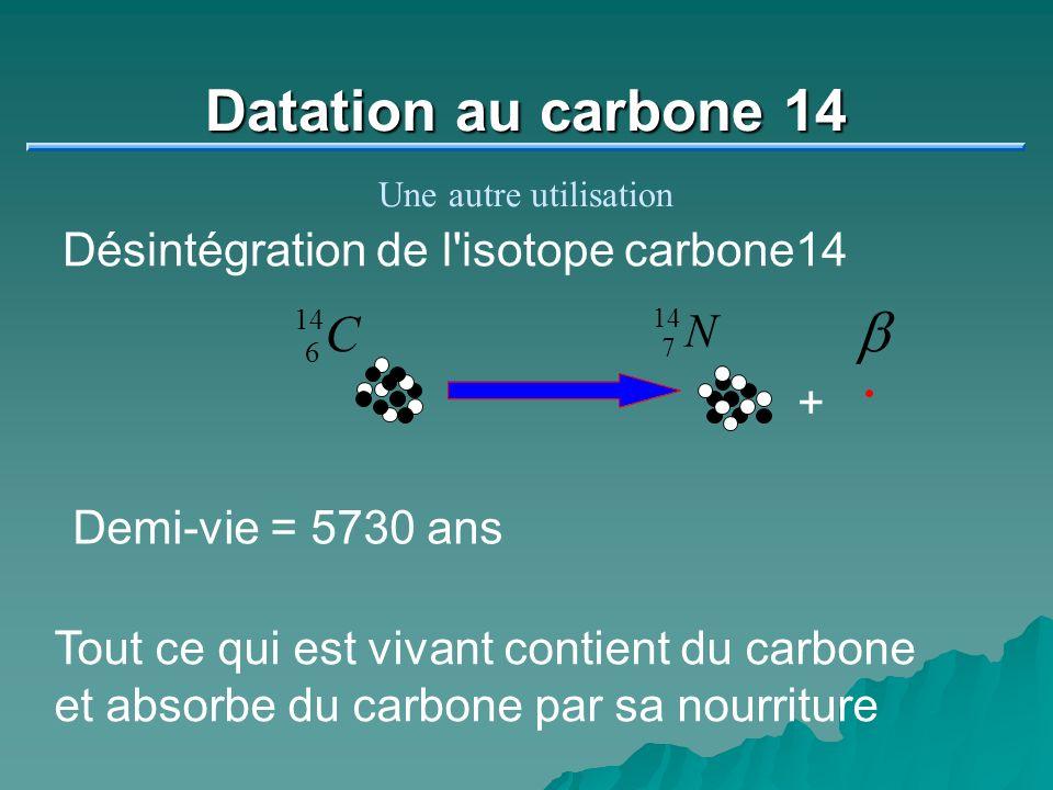 Datation au carbone 14 b C Désintégration de l isotope carbone14 N +