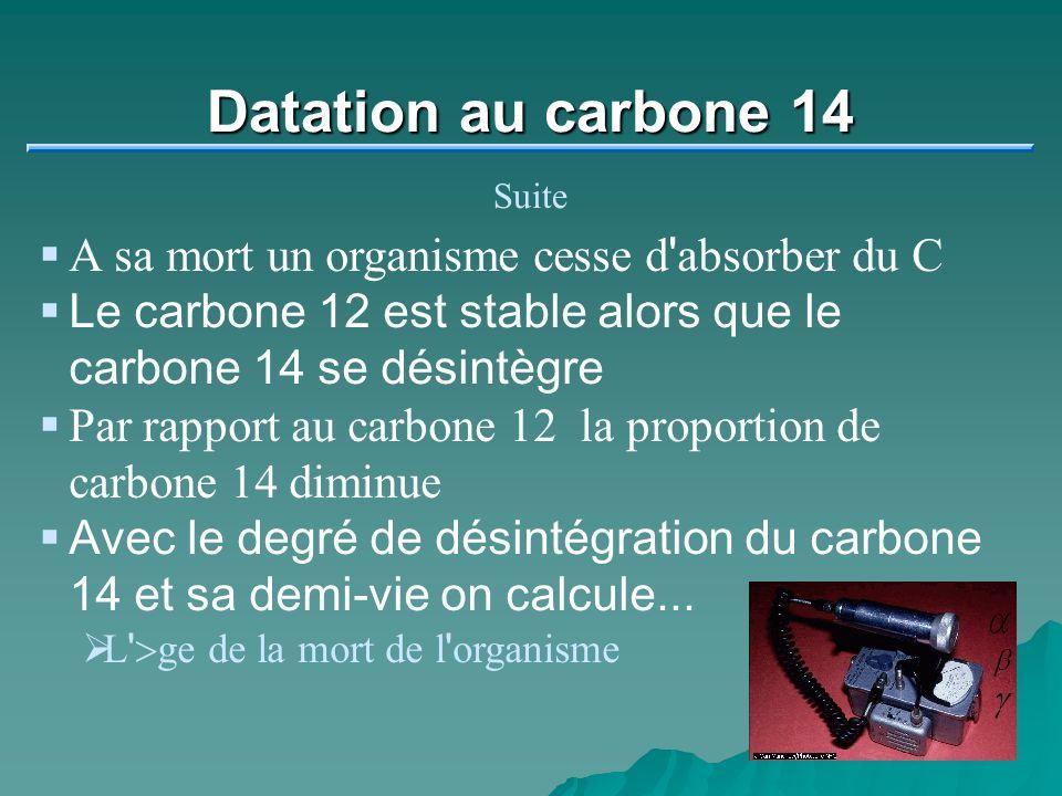 Datation au carbone 14 A sa mort un organisme cesse d absorber du C