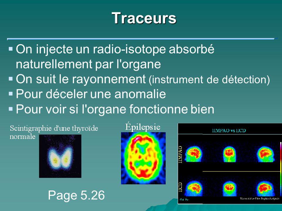 Traceurs On injecte un radio-isotope absorbé naturellement par l organe. On suit le rayonnement (instrument de détection)