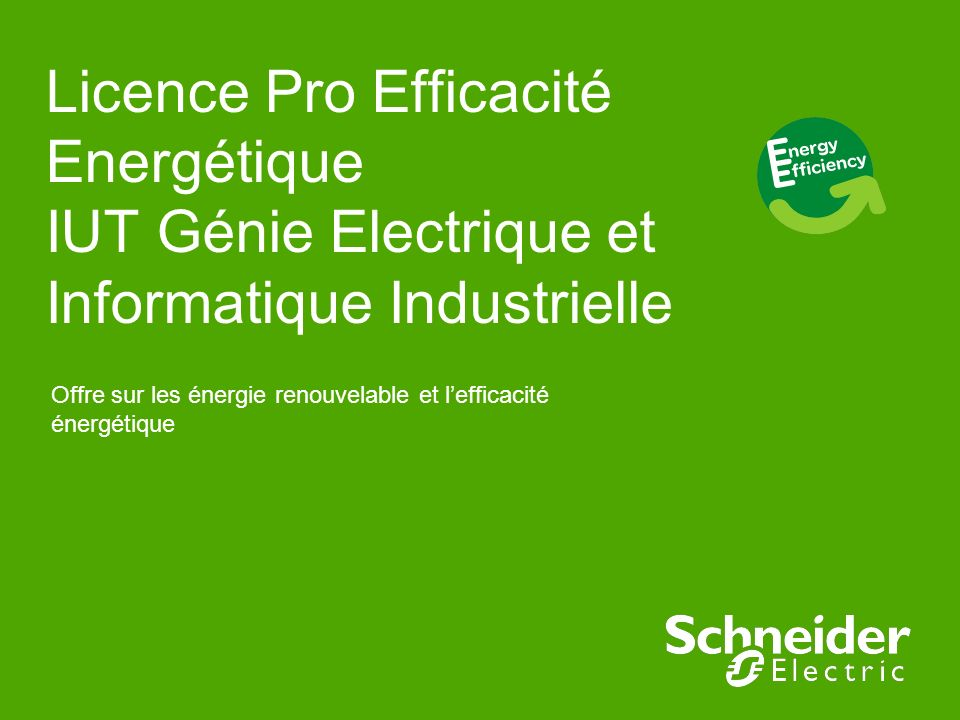 Licence Pro Efficacité Energétique IUT Génie Electrique et Informatique Industrielle