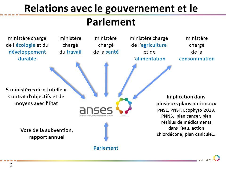 Relations avec le gouvernement et le Parlement