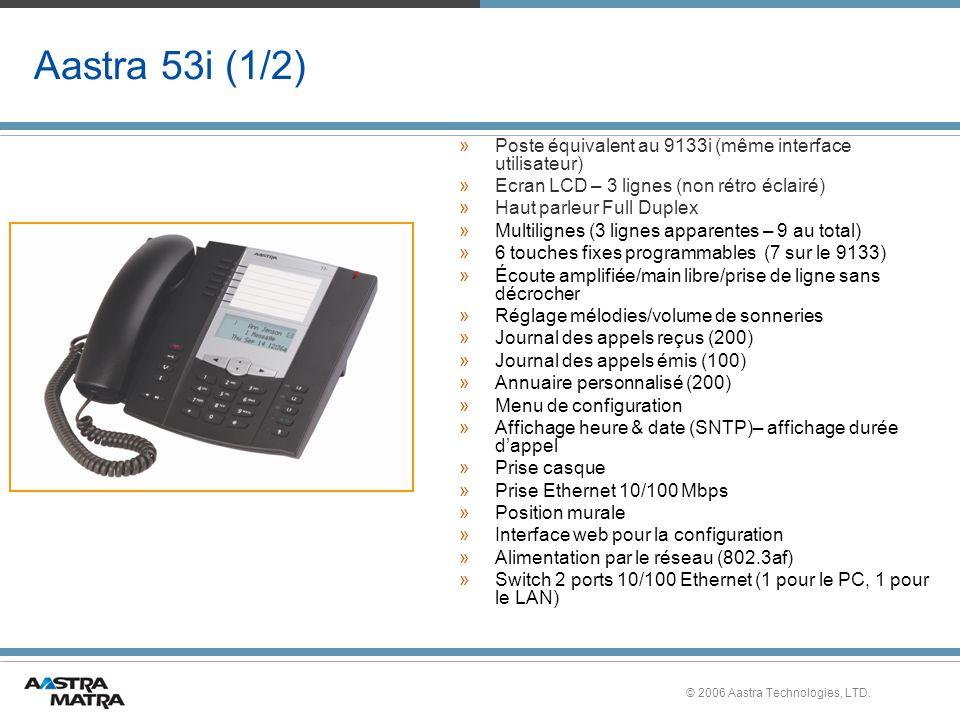 Aastra 53i (1/2) Poste équivalent au 9133i (même interface utilisateur) Ecran LCD – 3 lignes (non rétro éclairé)