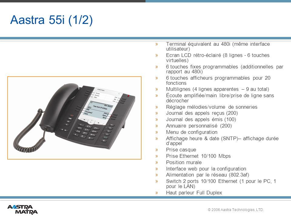 Aastra 55i (1/2) Terminal équivalent au 480i (même interface utilisateur) Ecran LCD rétro-éclairé (8 lignes - 6 touches virtuelles)