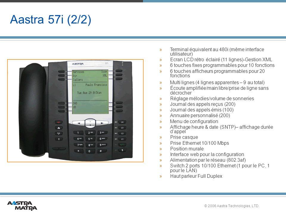 Aastra 57i (2/2) Terminal équivalent au 480i (même interface utilisateur) Ecran LCD rétro éclairé (11 lignes)-Gestion XML.