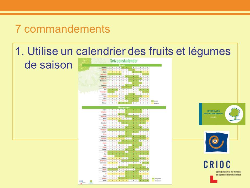 7 commandements 1. Utilise un calendrier des fruits et légumes de saison