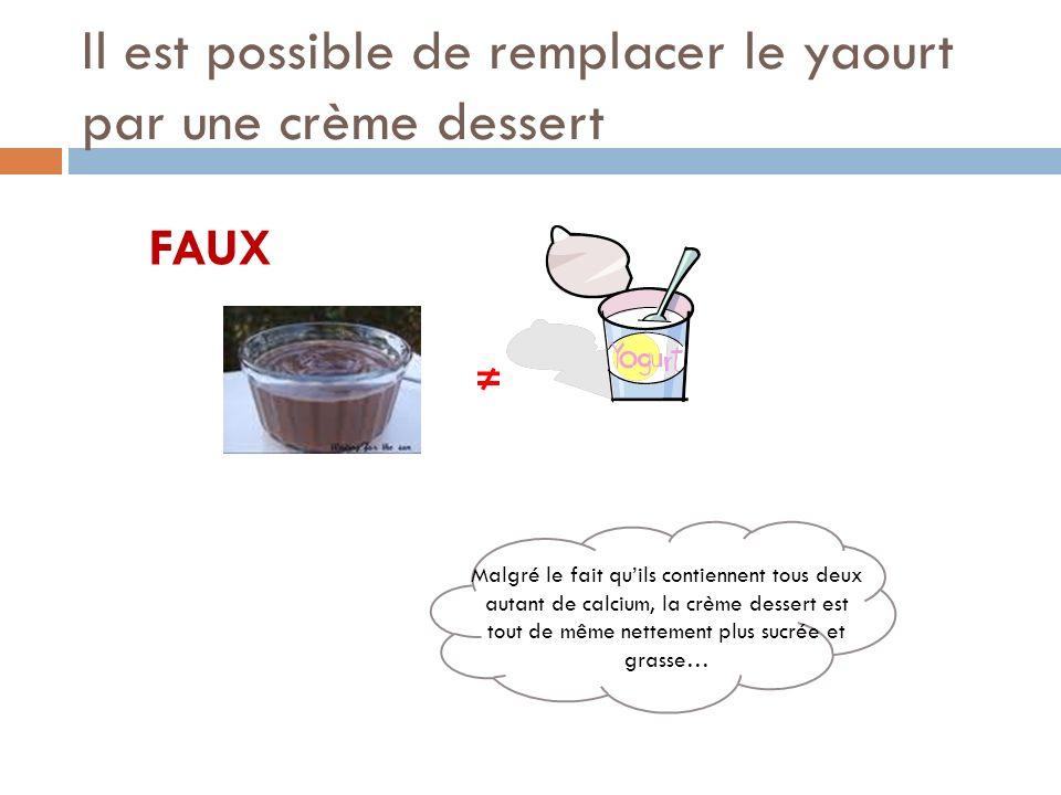 Il est possible de remplacer le yaourt par une crème dessert