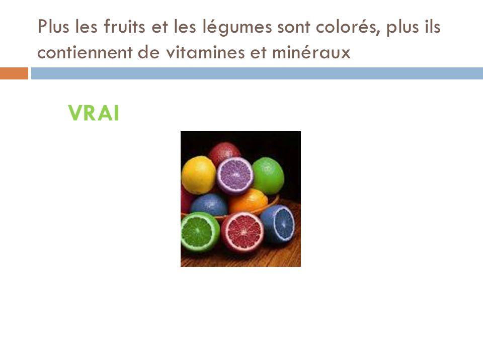 Plus les fruits et les légumes sont colorés, plus ils contiennent de vitamines et minéraux
