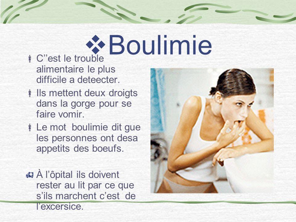 Boulimie C''est le trouble alimentaire le plus difficile a deteecter.