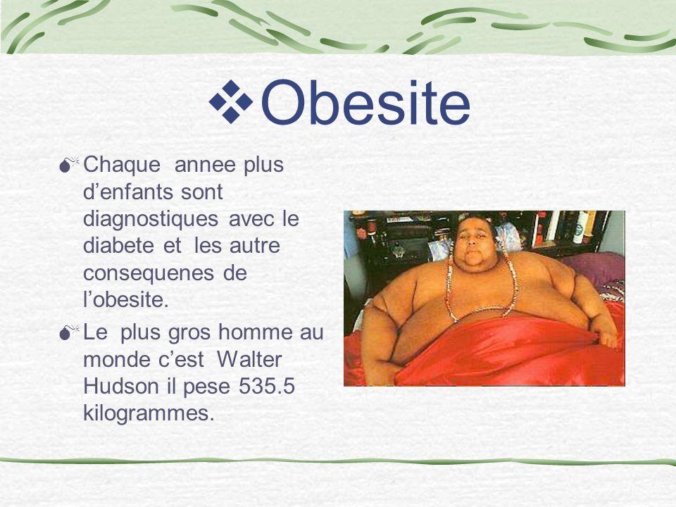 Obesite Chaque annee plus d'enfants sont diagnostiques avec le diabete et les autre consequenes de l'obesite.