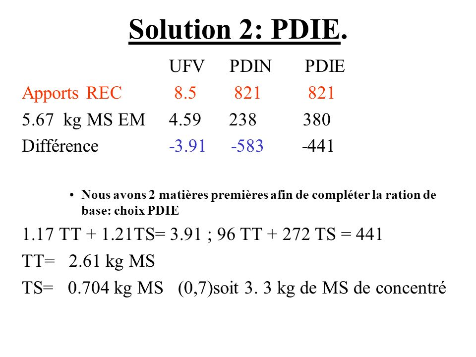 Solution 2: PDIE. UFV PDIN PDIE Apports REC 8.5 821 821