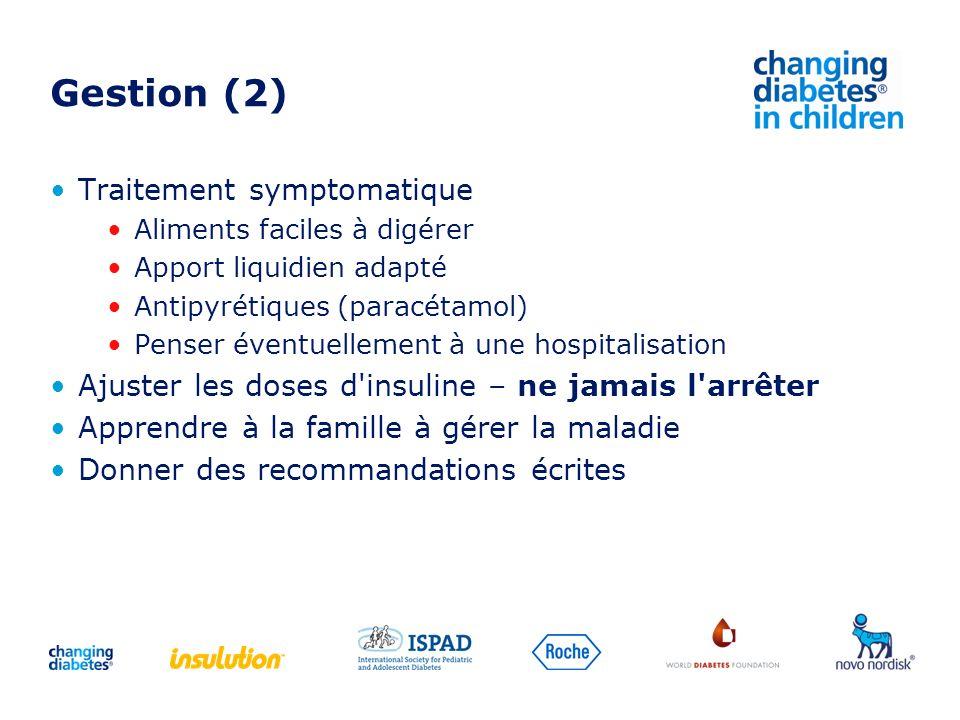 Gestion (2) Traitement symptomatique