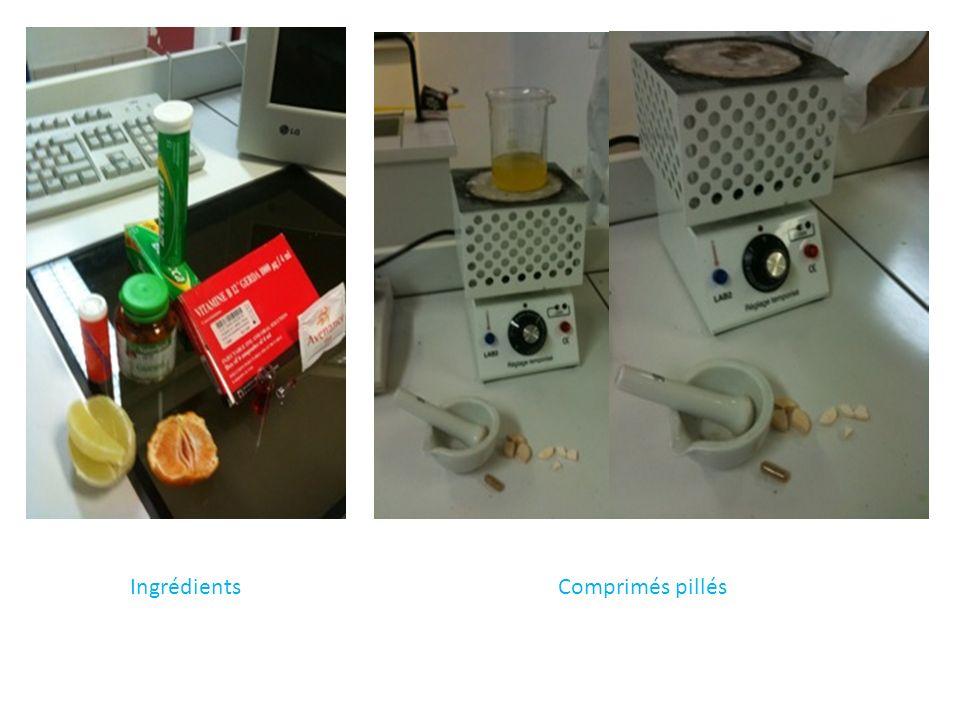 Ingrédients Comprimés pillés