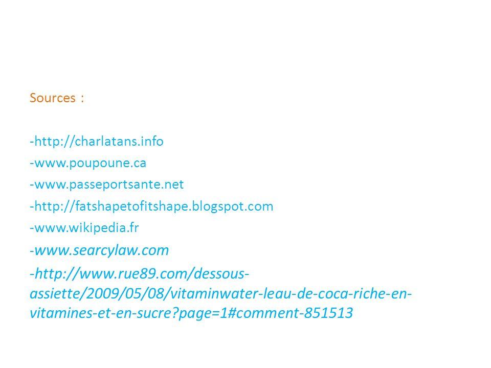 Sources : -http://charlatans.info. -www.poupoune.ca. -www.passeportsante.net. -http://fatshapetofitshape.blogspot.com.