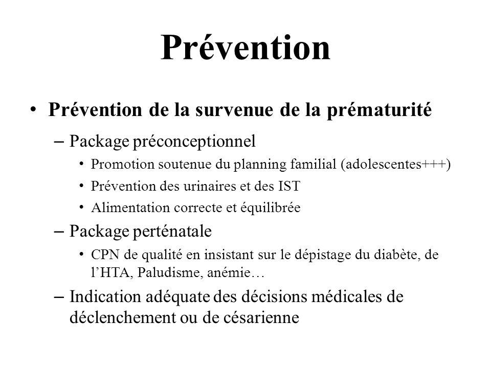 Prévention Prévention de la survenue de la prématurité