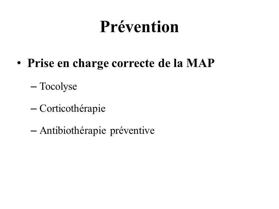 Prévention Prise en charge correcte de la MAP Tocolyse Corticothérapie