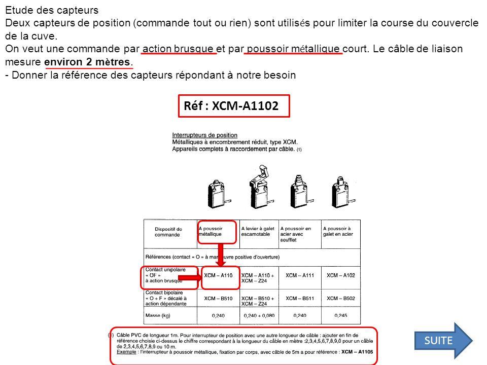 Réf : XCM-A1102 SUITE Etude des capteurs