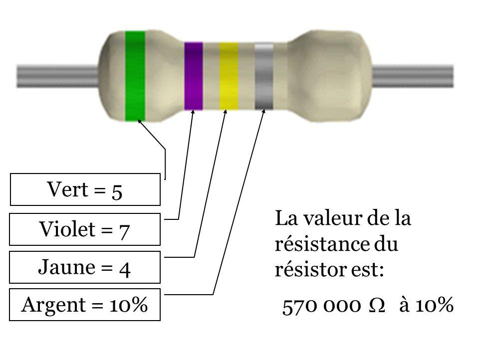Vert = 5 La valeur de la résistance du résistor est: Violet = 7. Jaune = 4. Argent = 10% 5. 7.
