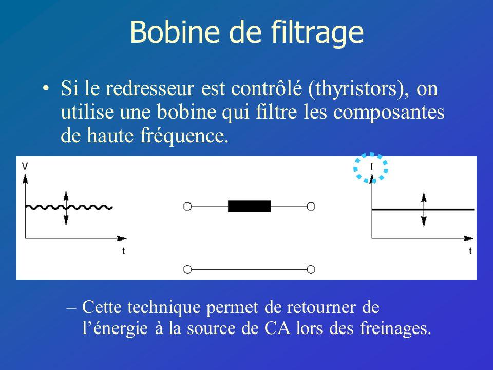 Bobine de filtrage Si le redresseur est contrôlé (thyristors), on utilise une bobine qui filtre les composantes de haute fréquence.