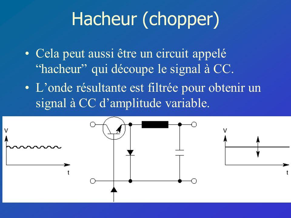Hacheur (chopper) Cela peut aussi être un circuit appelé hacheur qui découpe le signal à CC.