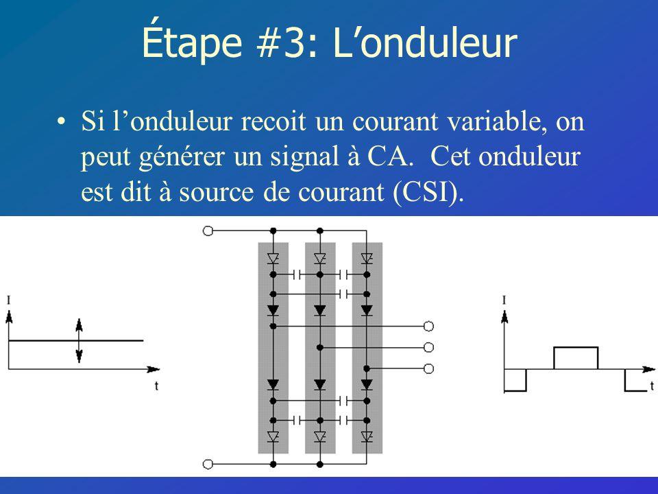 Étape #3: L'onduleur Si l'onduleur recoit un courant variable, on peut générer un signal à CA.