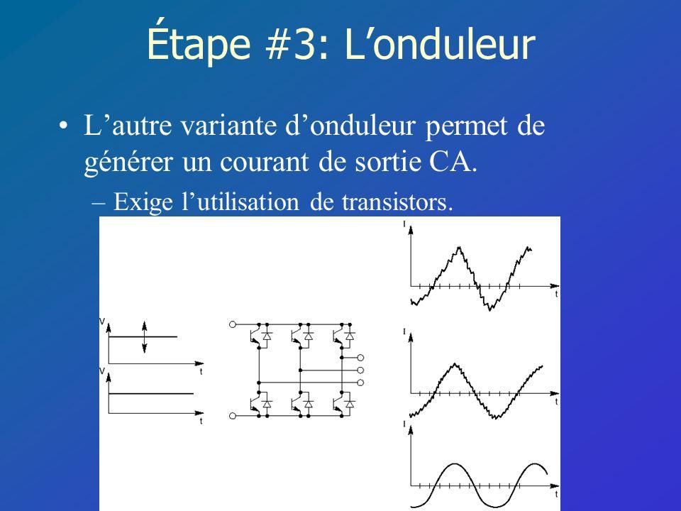 Étape #3: L'onduleur L'autre variante d'onduleur permet de générer un courant de sortie CA.