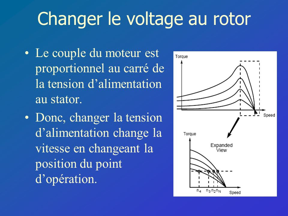 Changer le voltage au rotor
