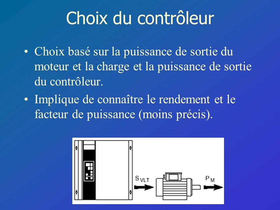 Choix du contrôleur Choix basé sur la puissance de sortie du moteur et la charge et la puissance de sortie du contrôleur.