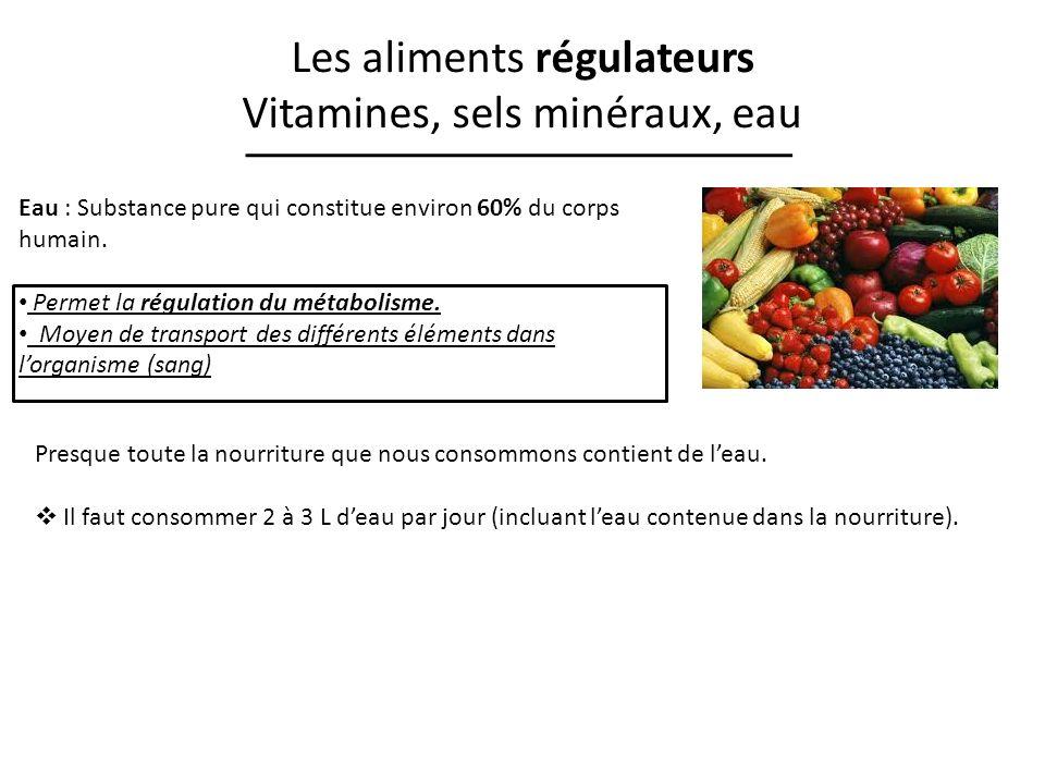 Les aliments régulateurs Vitamines, sels minéraux, eau