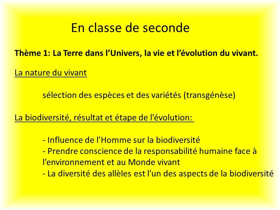 En classe de seconde Thème 1: La Terre dans l'Univers, la vie et l'évolution du vivant. La nature du vivant.