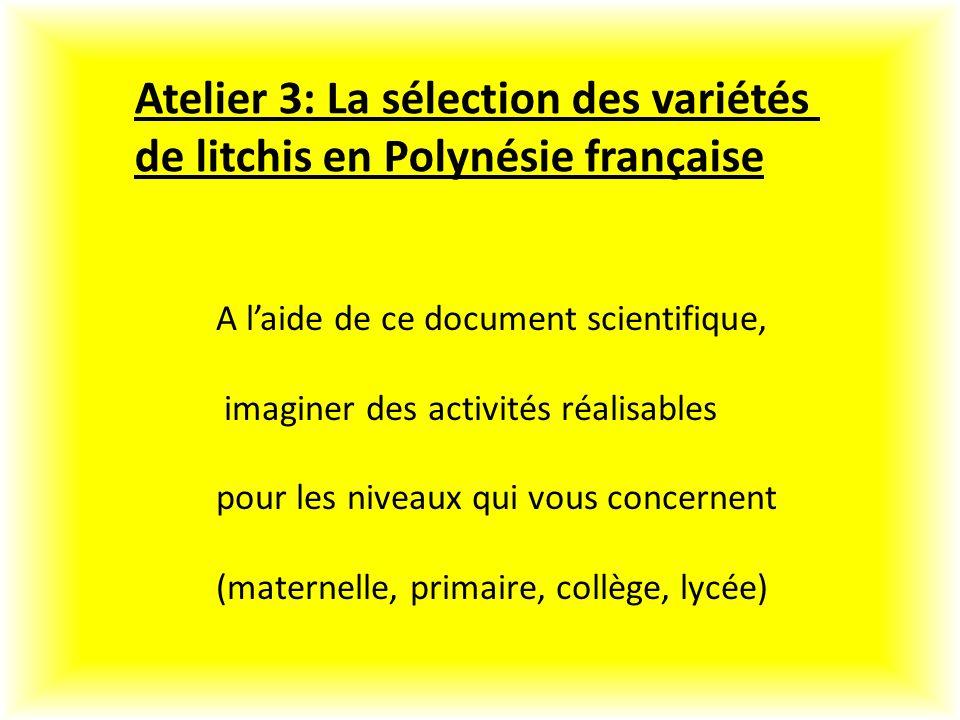 Atelier 3: La sélection des variétés de litchis en Polynésie française