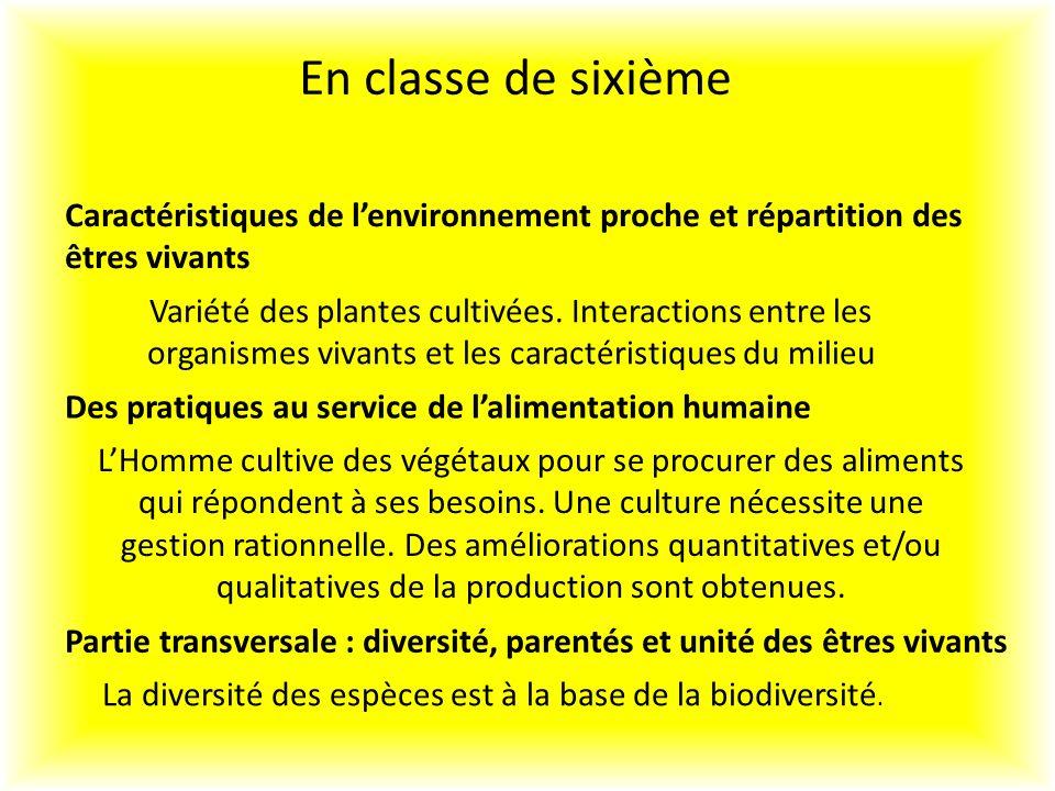 En classe de sixième Caractéristiques de l'environnement proche et répartition des êtres vivants.