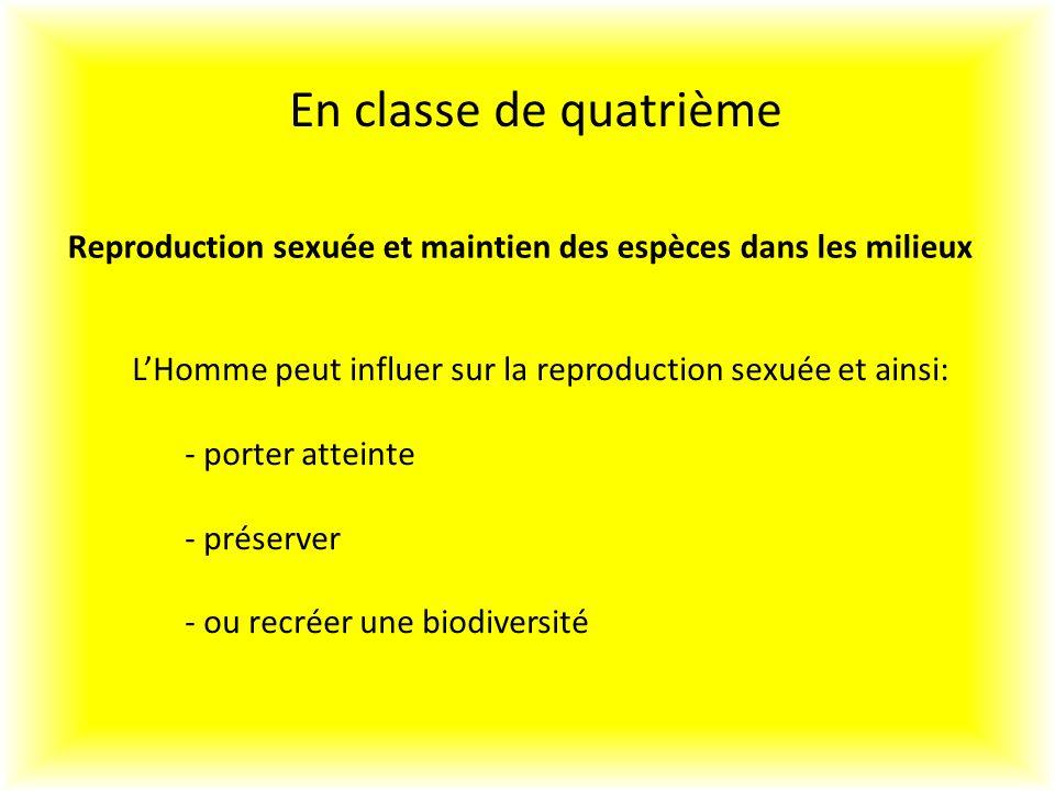 En classe de quatrième Reproduction sexuée et maintien des espèces dans les milieux. L'Homme peut influer sur la reproduction sexuée et ainsi: