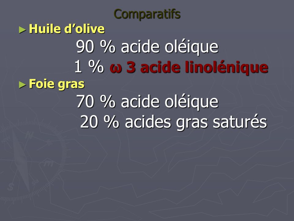 90 % acide oléique 1 % ω 3 acide linolénique 70 % acide oléique