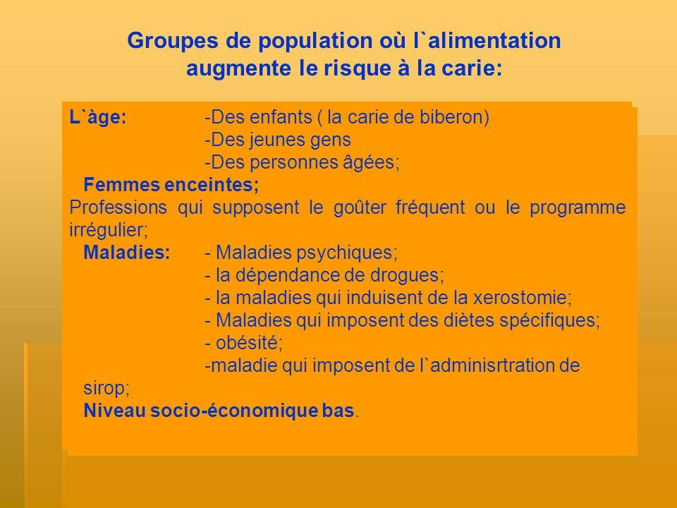 Groupes de population où l`alimentation augmente le risque à la carie: