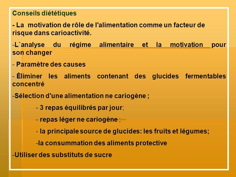 Conseils diététiques - La motivation de rôle de l alimentation comme un facteur de risque dans carioactivité.