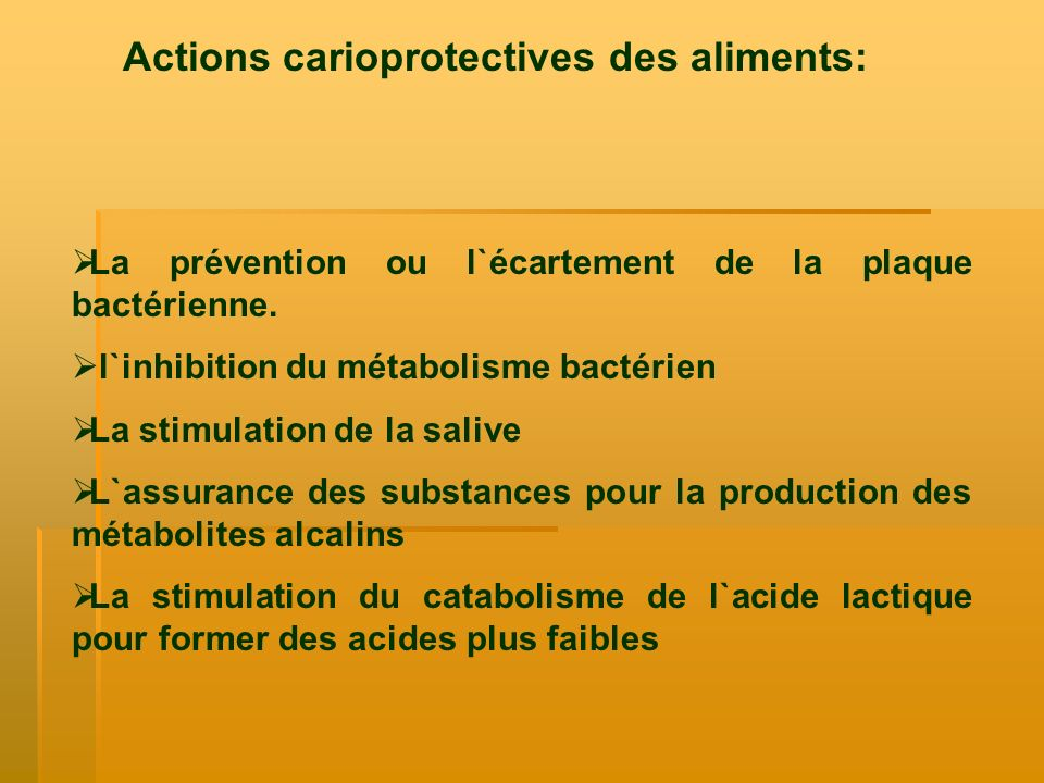 Actions carioprotectives des aliments: