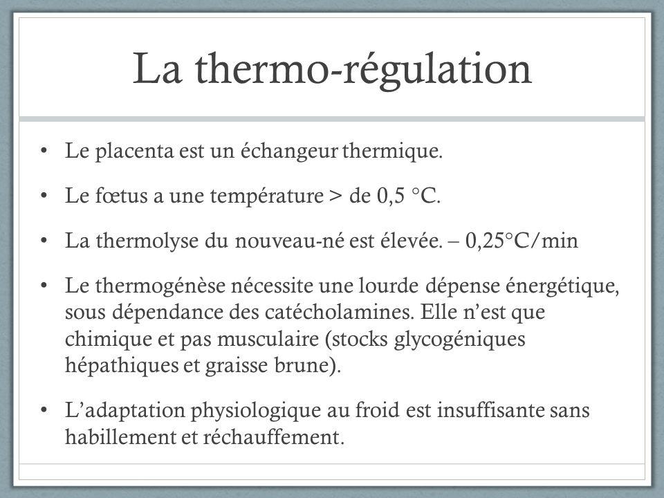 La thermo-régulation Le placenta est un échangeur thermique.