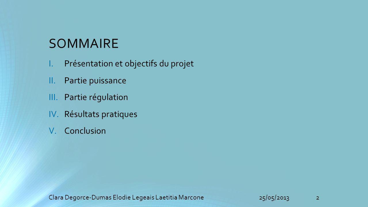 SOMMAIRE Présentation et objectifs du projet Partie puissance