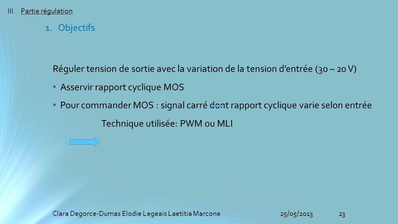Asservir rapport cyclique MOS