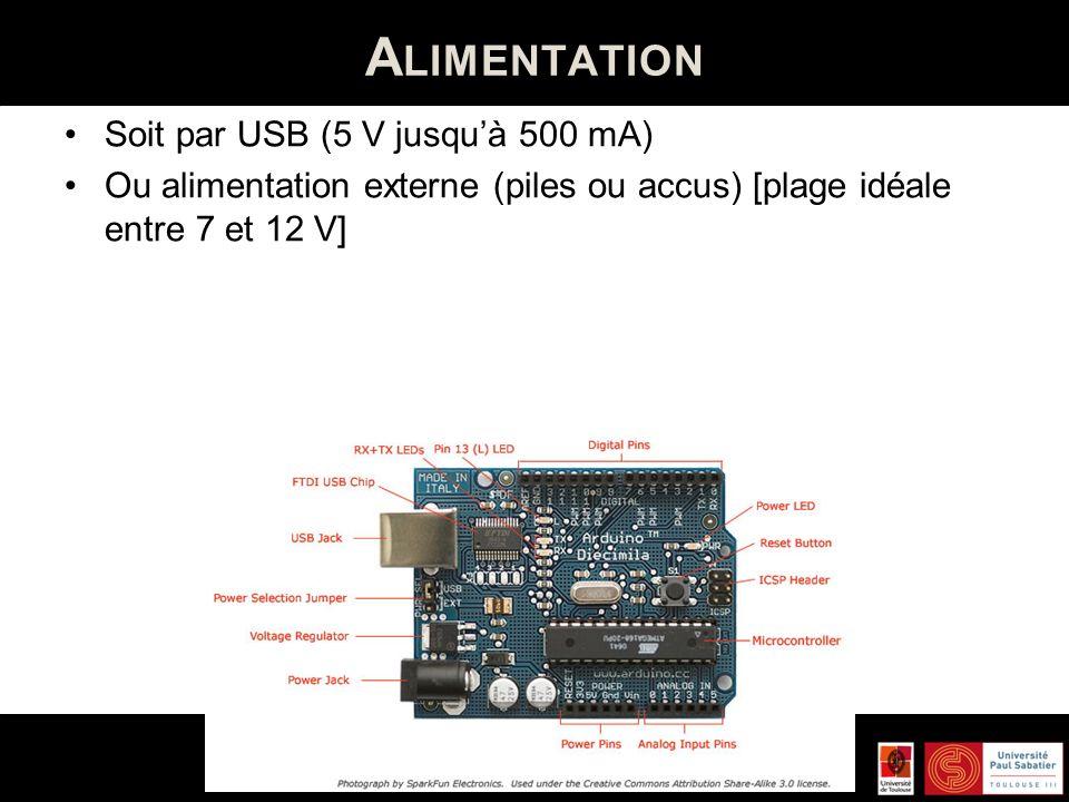 Alimentation Soit par USB (5 V jusqu'à 500 mA)