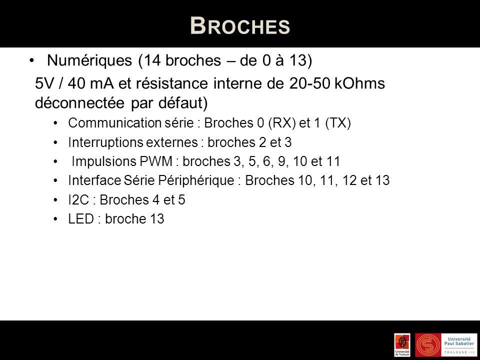 Broches Numériques (14 broches – de 0 à 13)