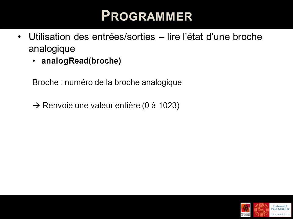 Programmer Utilisation des entrées/sorties – lire l'état d'une broche analogique. analogRead(broche)