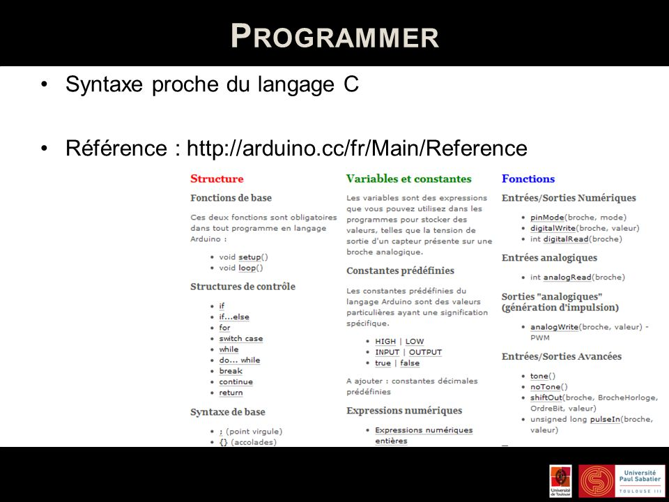 Programmer Syntaxe proche du langage C
