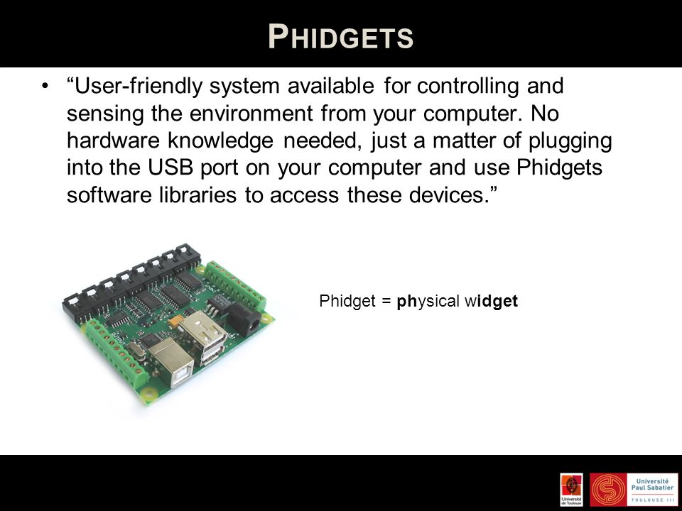 Phidget = physical widget
