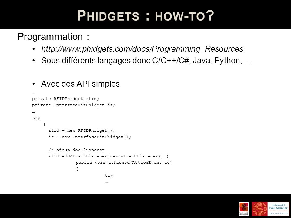 Phidgets : how-to Programmation :