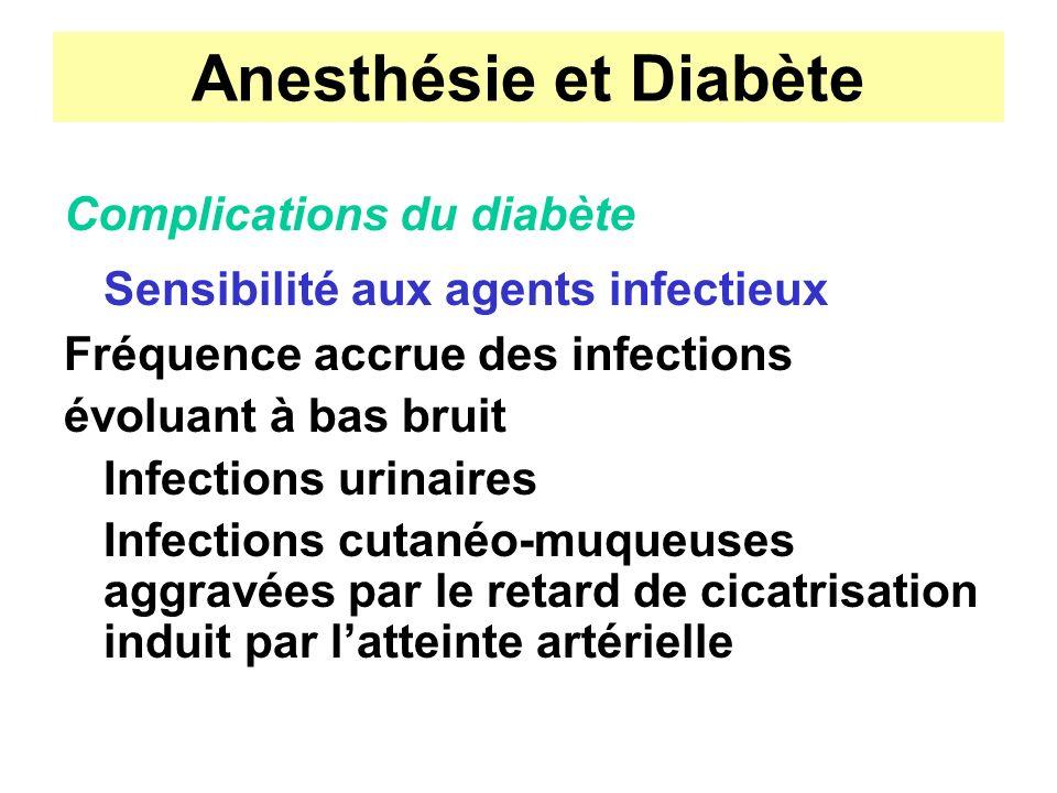 Anesthésie et Diabète Sensibilité aux agents infectieux